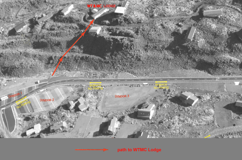Aerial photograph showing walking route from Whakapapa carpark to WTMC lodge