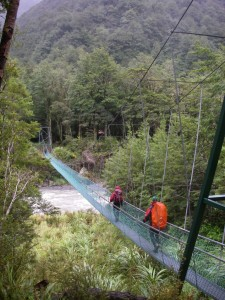 swing bridge at cow creek hut