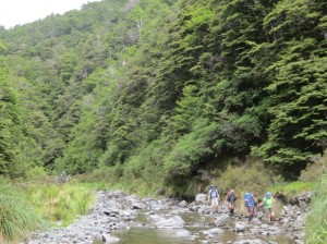heading down the Maropea River headwaters