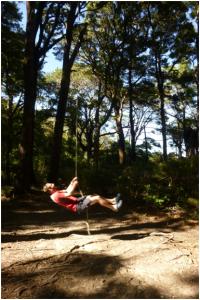 Gareth plays on the Paua Hut swing