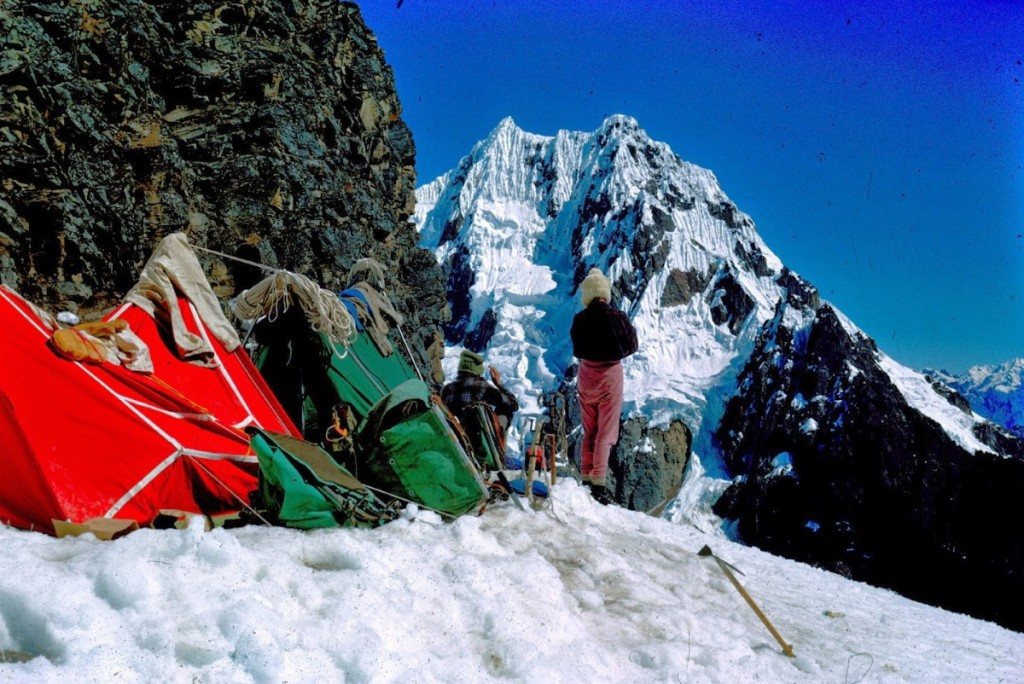 Pete surveys the north face of Mellizos from a high camp. Source: Bob McKerrow