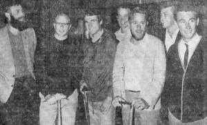 Setting off for Peru from Wellington Railway Station. Mac Riding, Ken McNatty (trip leader), Bob McKerrow, Paul Green, Allen Higgins, Dick Cowan, and a fresh-faced Pete Goodwin