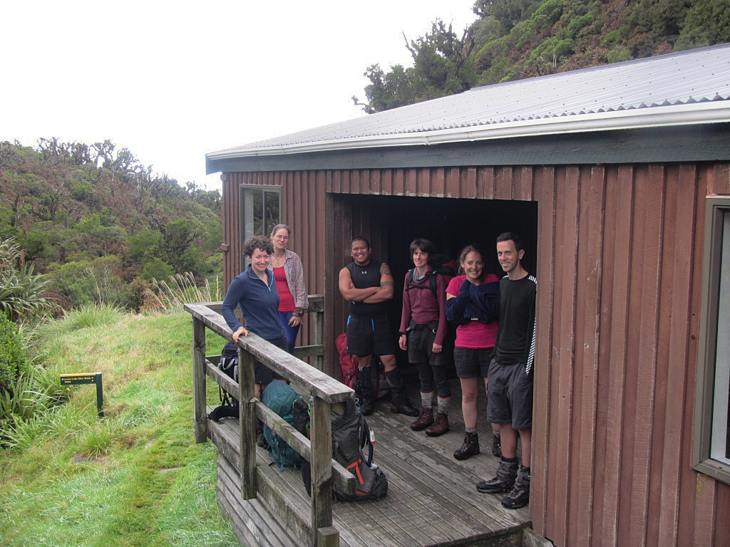 The gang at Lake Dive Hut after morning tea