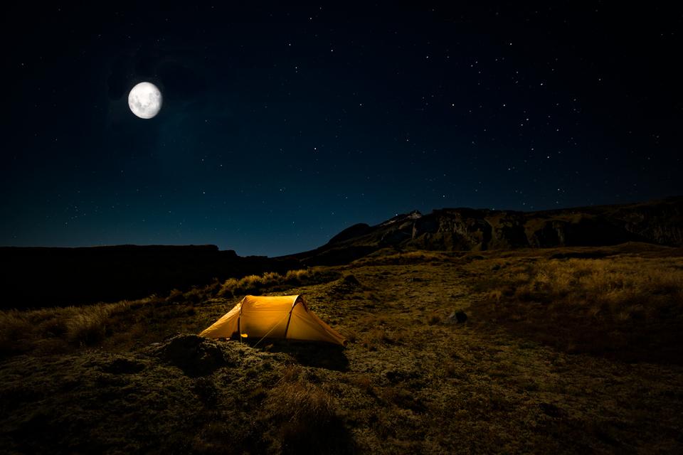 Taranaki West side campsite at night