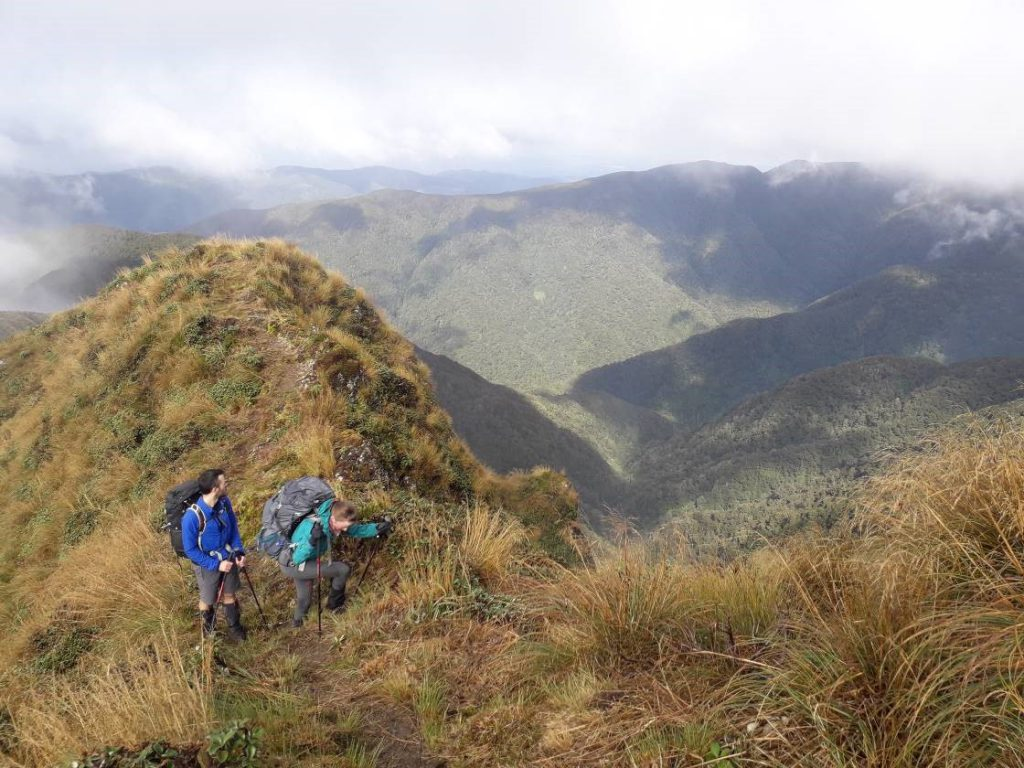 Gareth and Shauna look back down the valley and beyond to Cone Saddle
