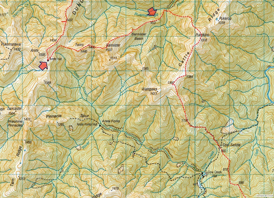Topo map of Northern Tararuas