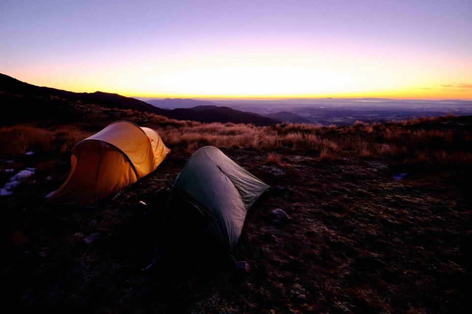 Tents at sunrise at Tarn Bivvy