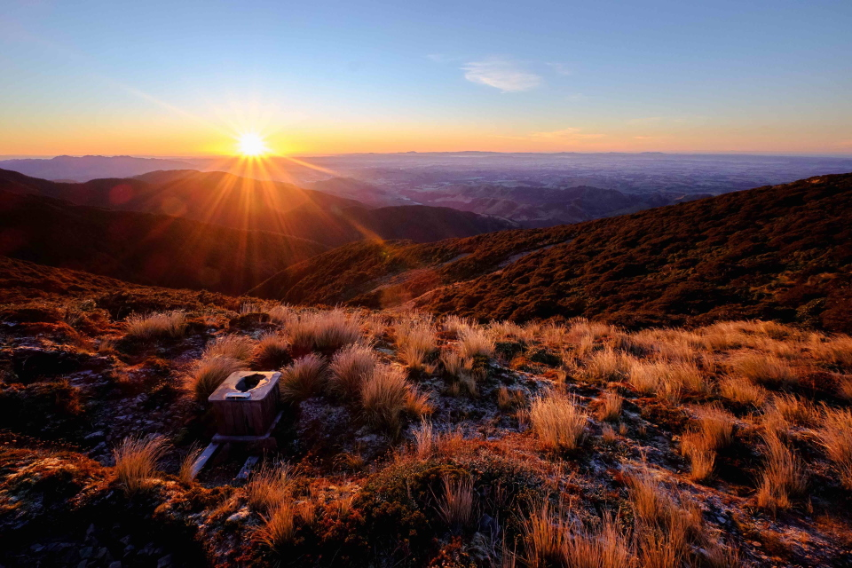 Outside toilet in Ruahine Ranges at sunrise