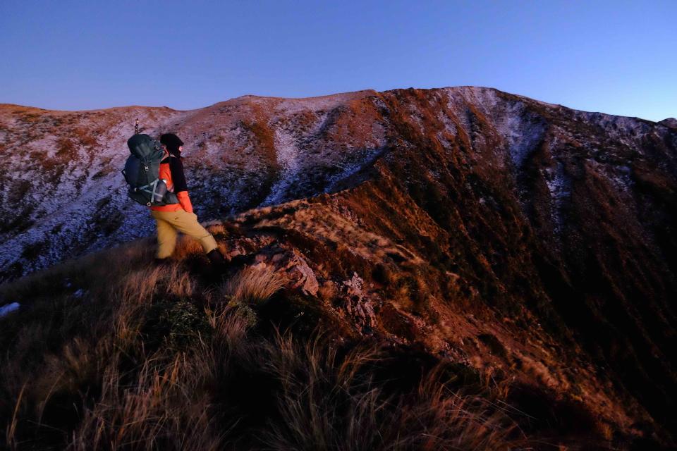 Zuzana looks up the thin ridge from Longview up onto Otumore