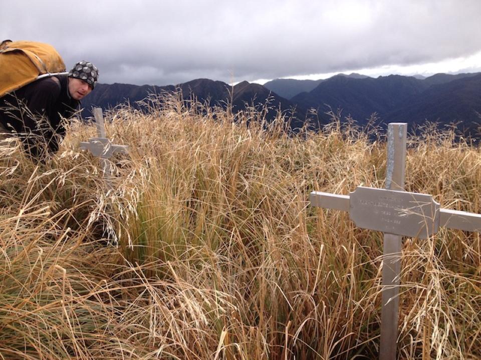 Pilots' memorial crosses at Shingle Slip knob