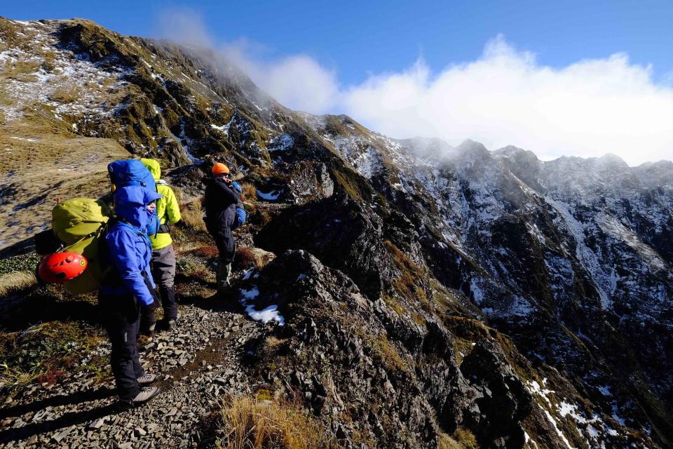 The Sawtooth beckons as the team climb ever higher up Tiraha