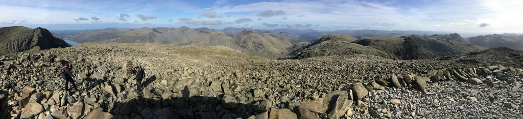 Panorama from Scafell Pike summit - English Lake District