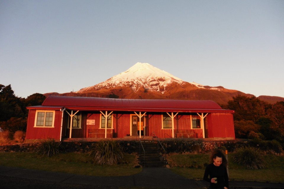 The Camphouse in front of Mount Taranaki