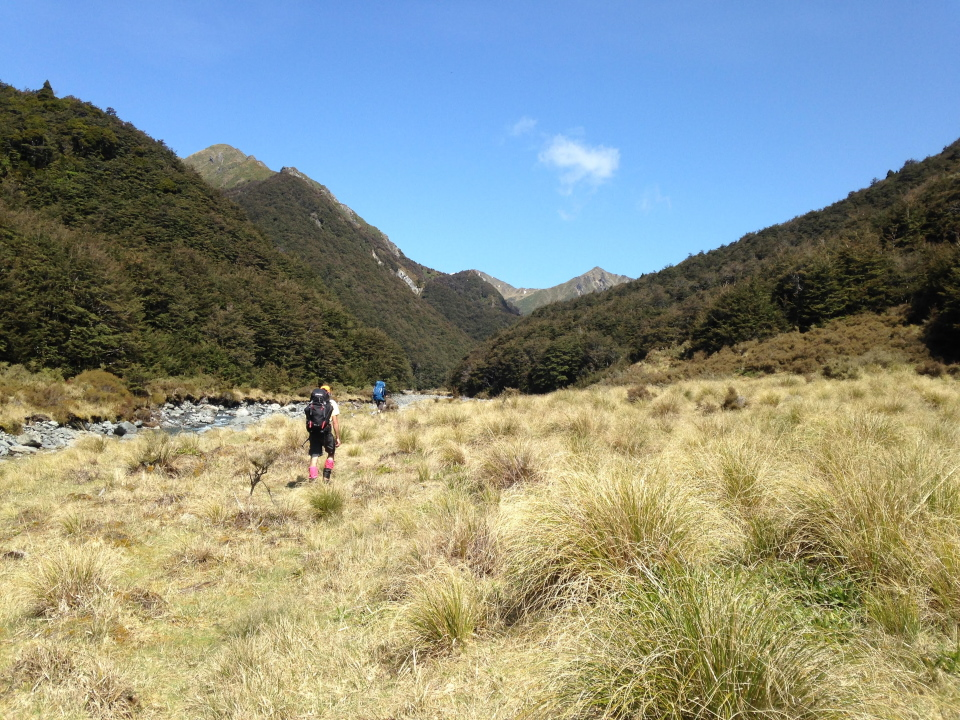Trampers walking next to Kawhatau River
