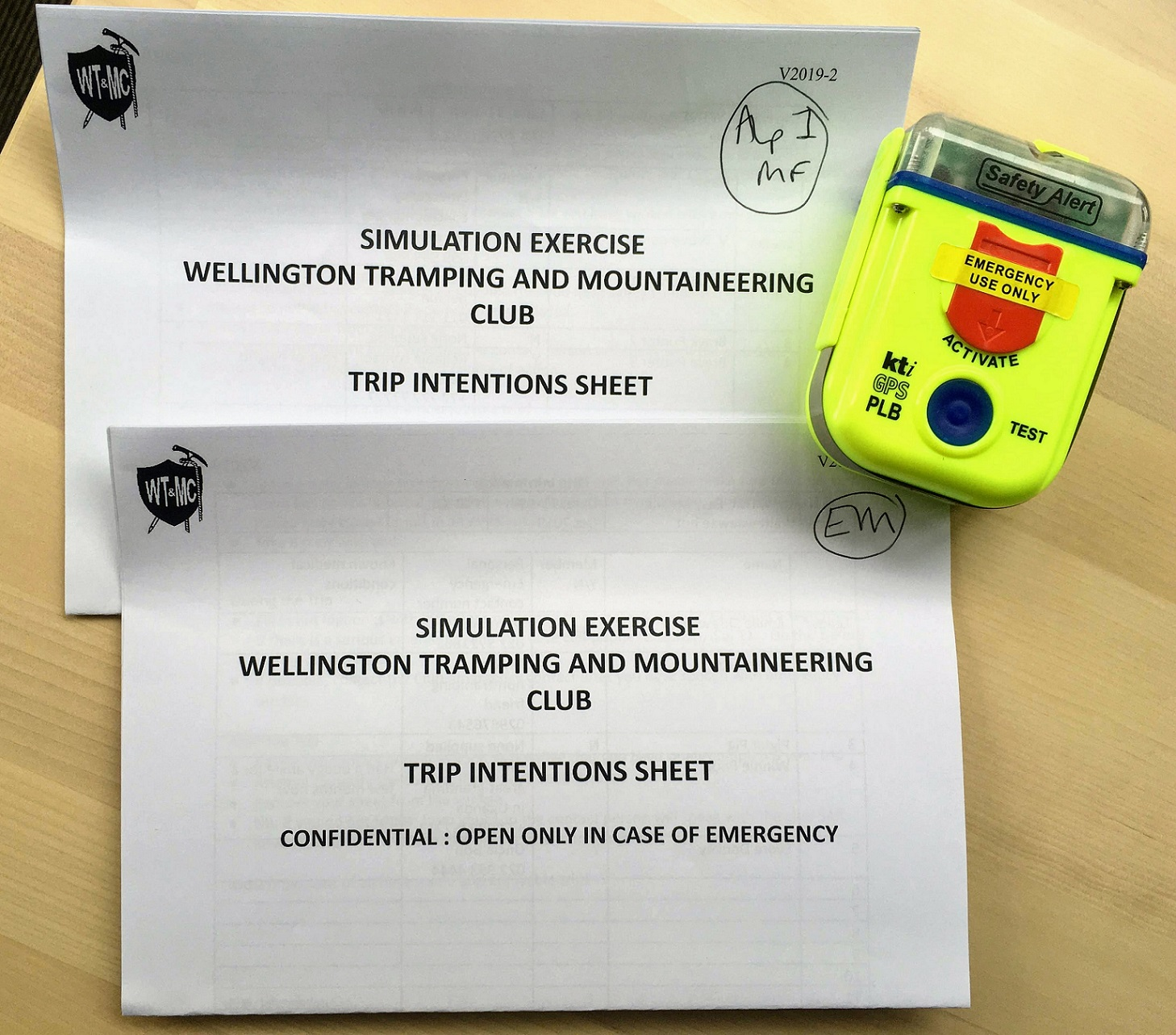 WTMC Intentions sheets and PLB