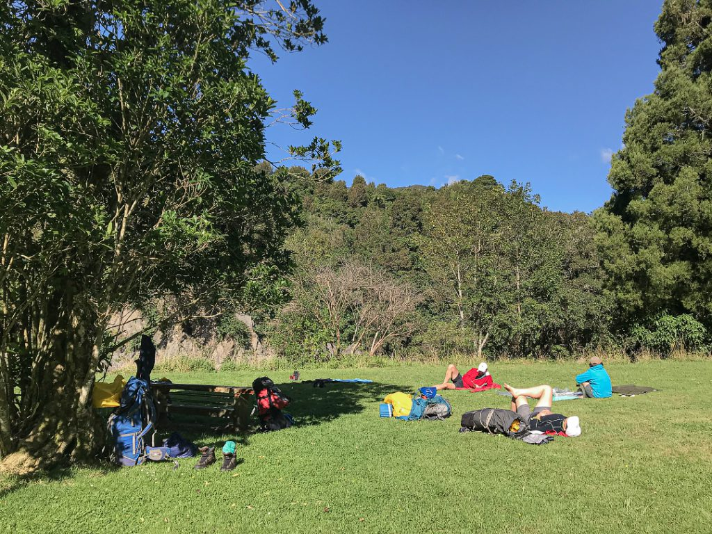 Relaxing in the sun at Otaki Forks