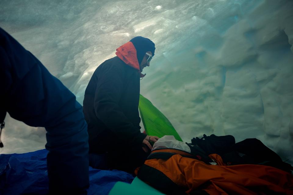 Michael inside a snow cave at Mt Ruapehu