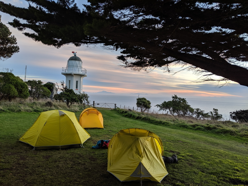 Tents next to Baring Head Lighthouse