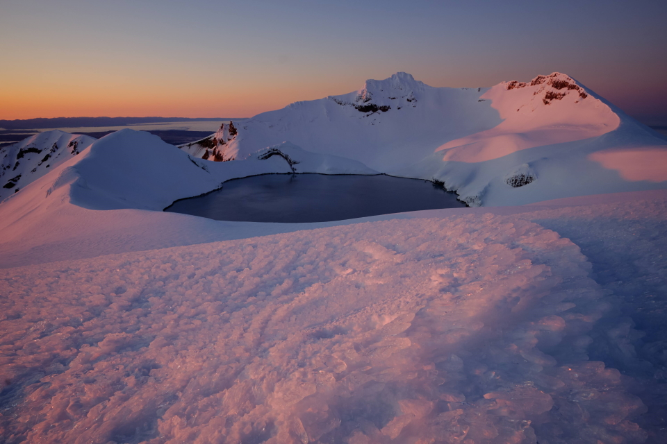 Dawn overlooking Crater Lake from Dome at Mt Ruapehu