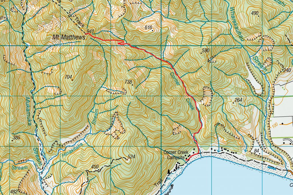 Map of route Corner Creek to summit Mt Matthews