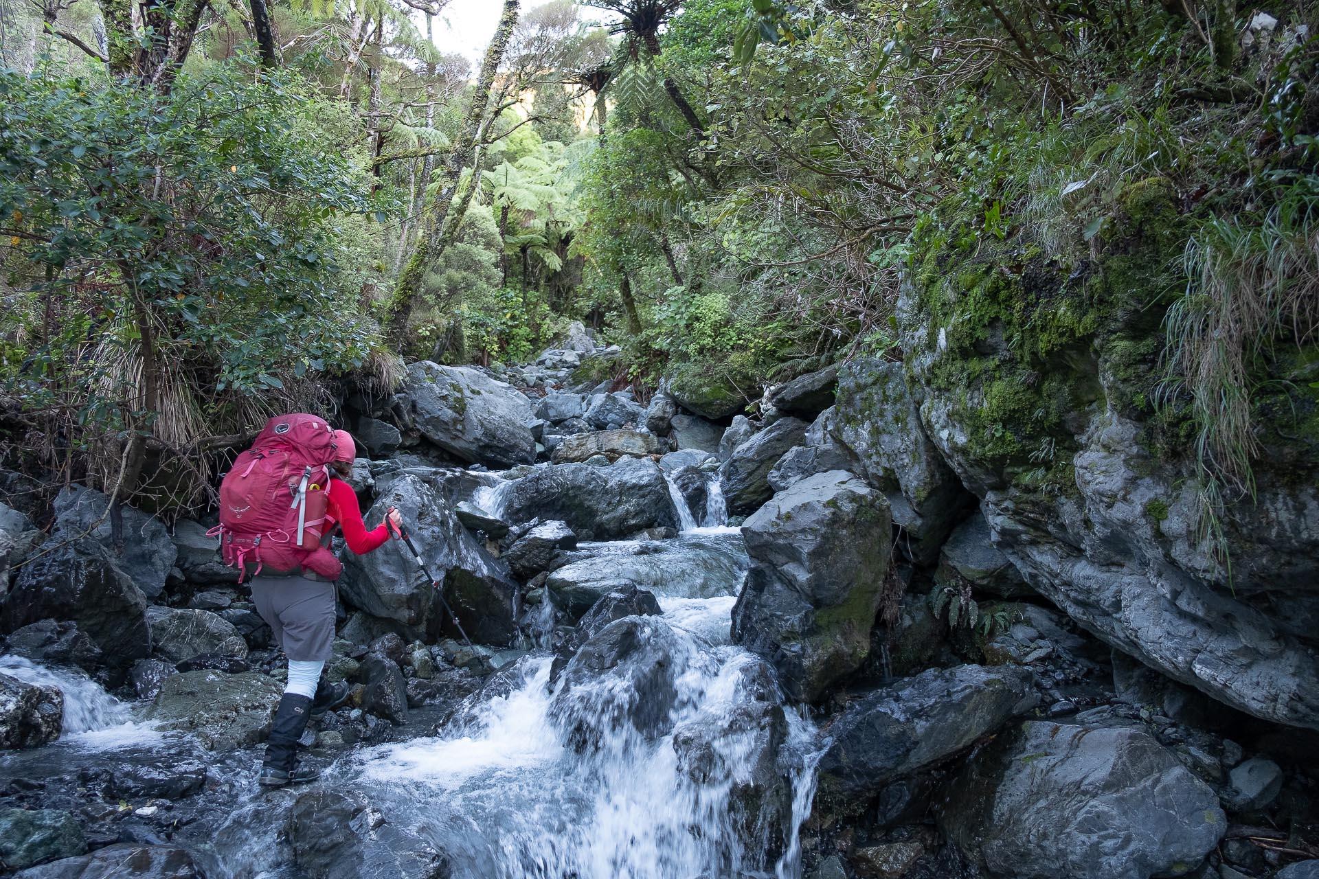 Walking up the rocky Corner Creek
