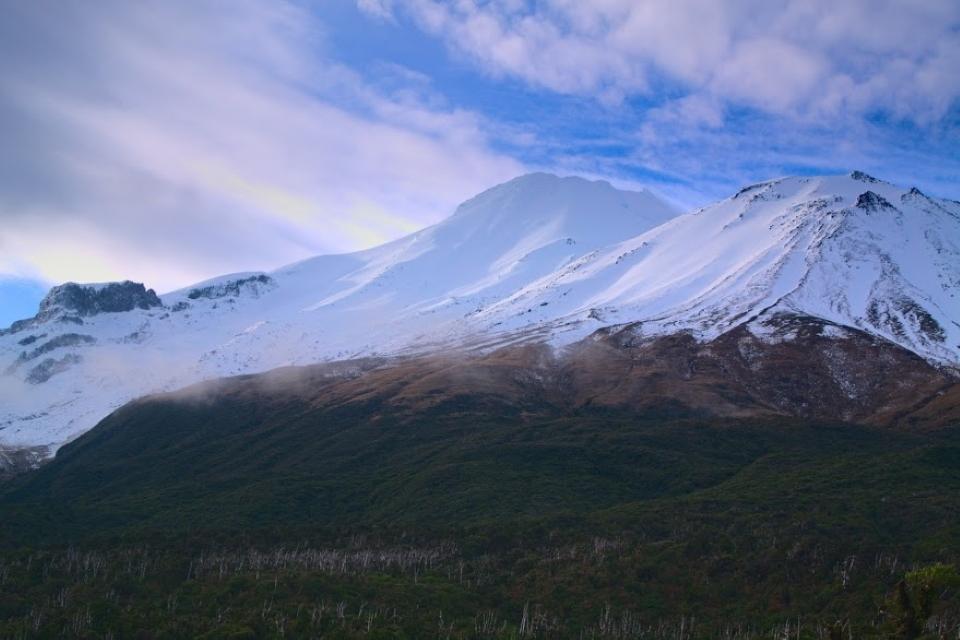 Fanthams Peak and Mt Taranaki as seen from Lake Dive