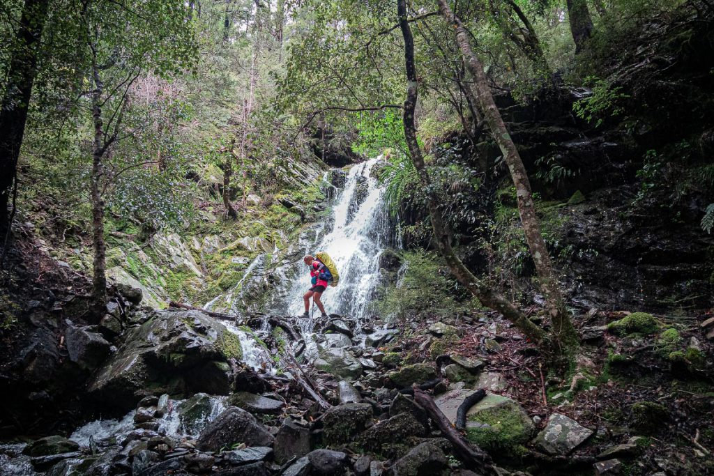 Passing waterfall on Goulter Track
