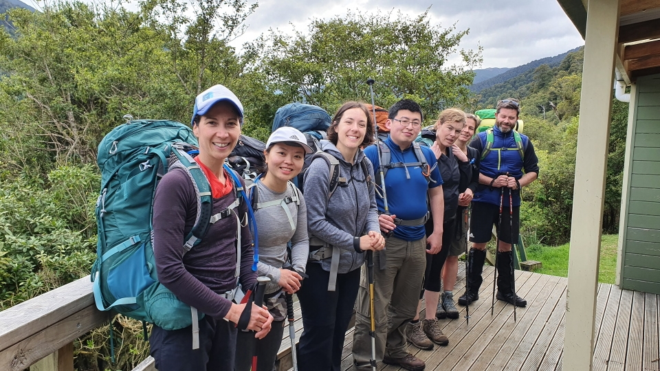 Trampers in front of Iron Gate Hut