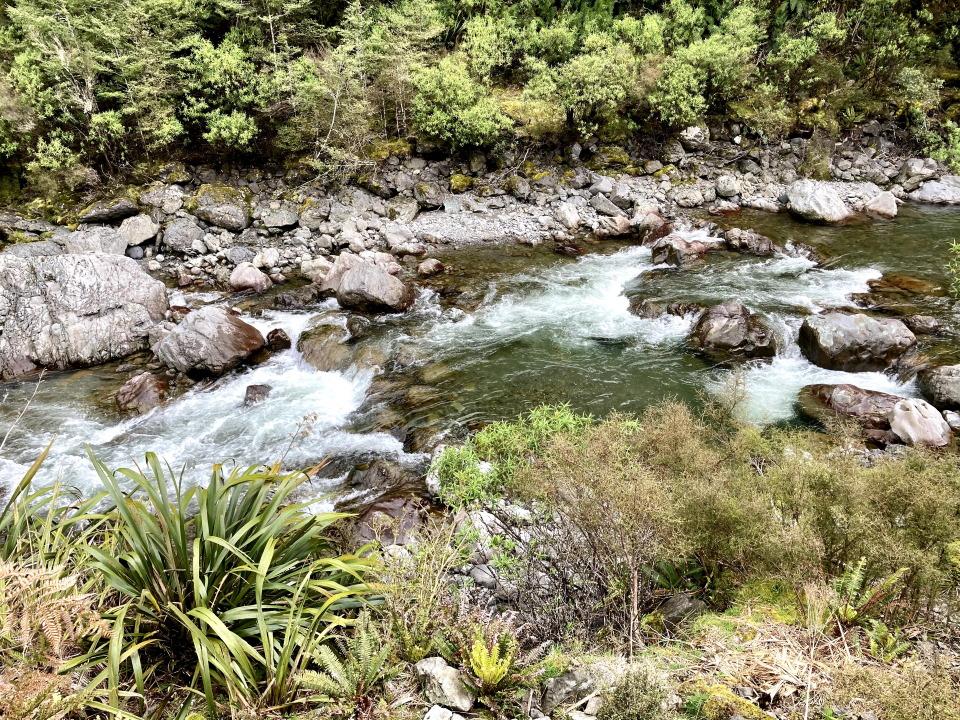 Picturesque Oroua River beside Iron Gate Hut