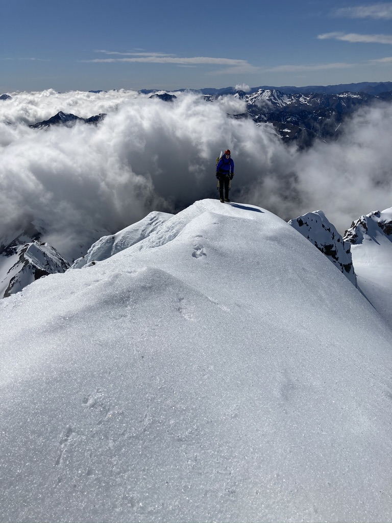 Elisabet on the final approach to the summit of Mt Rolleston