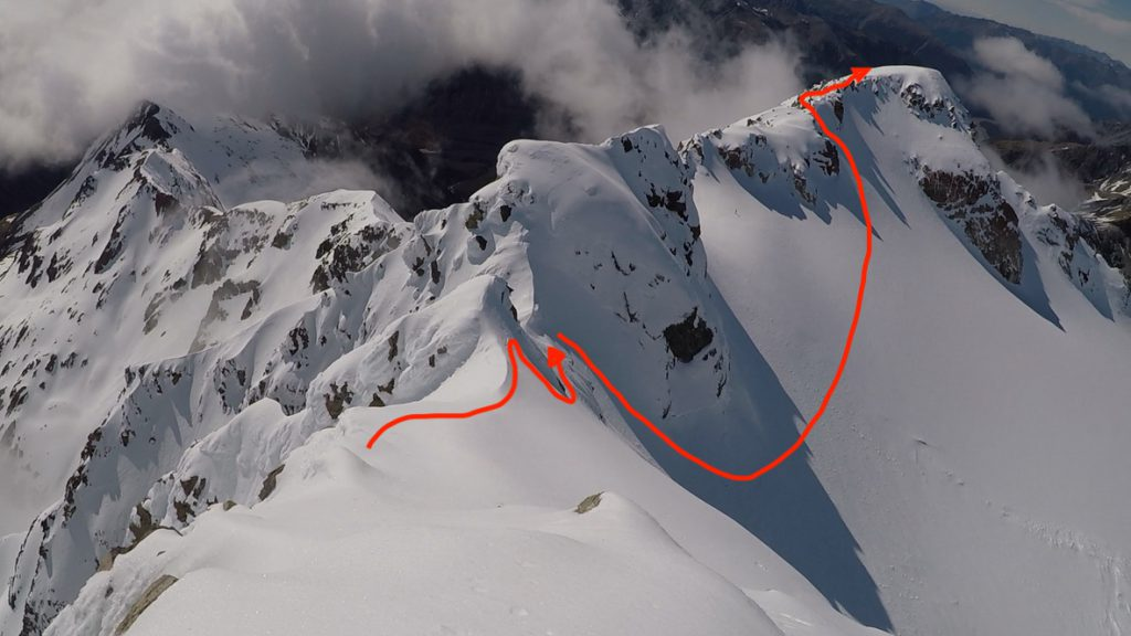 The descent route, down to the traverse, and then an icy climb back down into the glacier between Mid and High Peak
