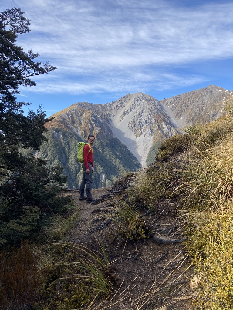 The Avalanche Peak track breaks at the tree-line beside a huge landslip