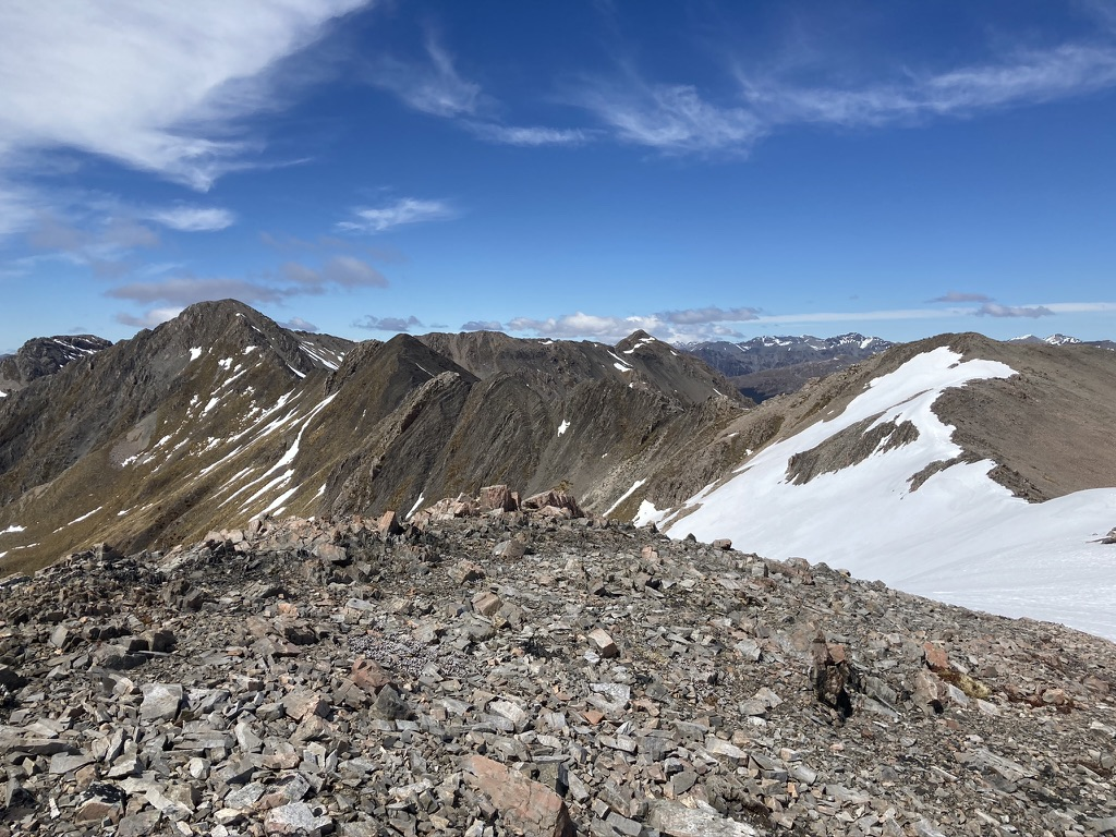 The route from Avalanche Peak to Lyall Peak and beyond to Mt Bealey