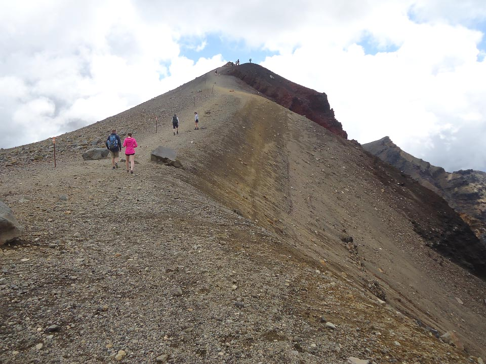 Up to the high point of the track above Red Crater - the last of the steep ascents. 11 am