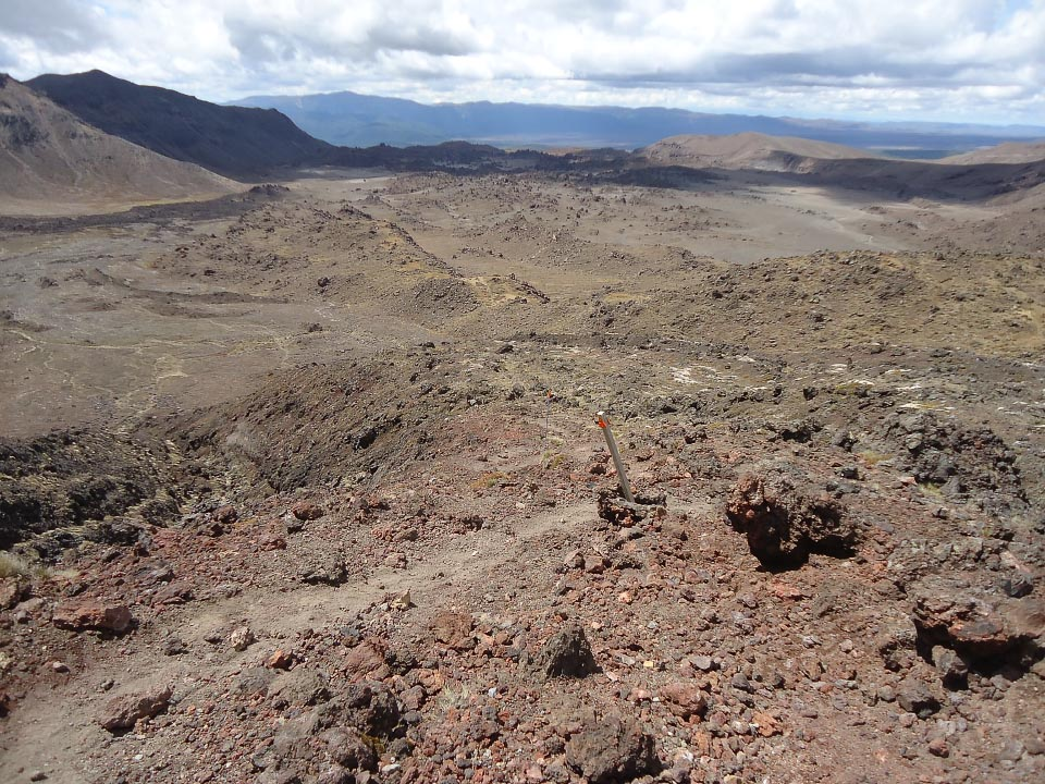 Oturere Valley from halfway down the spur from Red Crater.  The spur is steeper than how it looks in this photo.