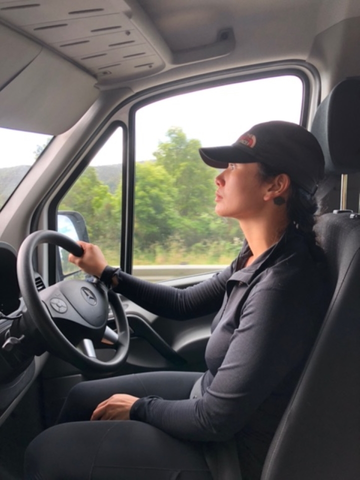 Carol driving the new club van