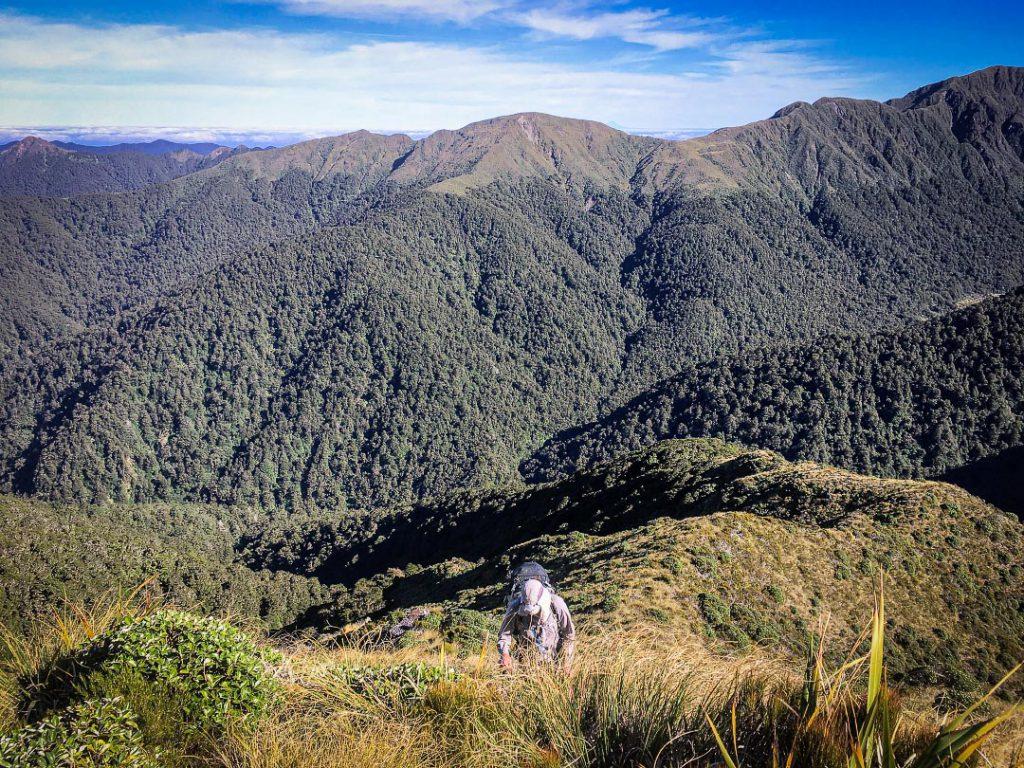 Ascending to Dorset Ridge in the Tararua Range