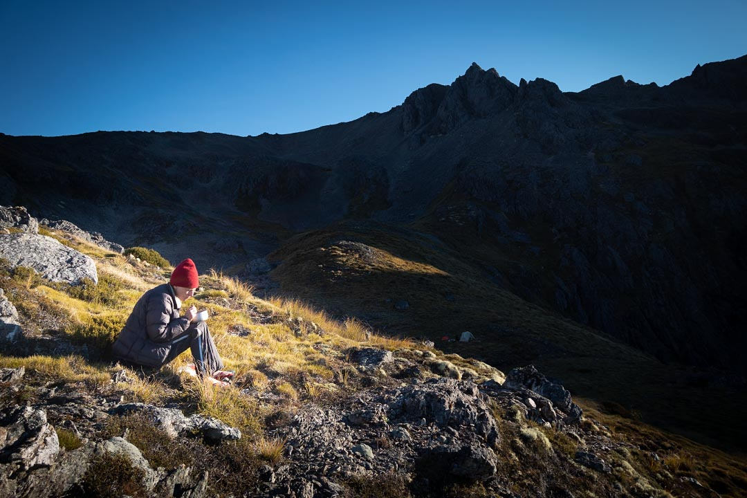 Eating breakfast on the St Arnaud Range