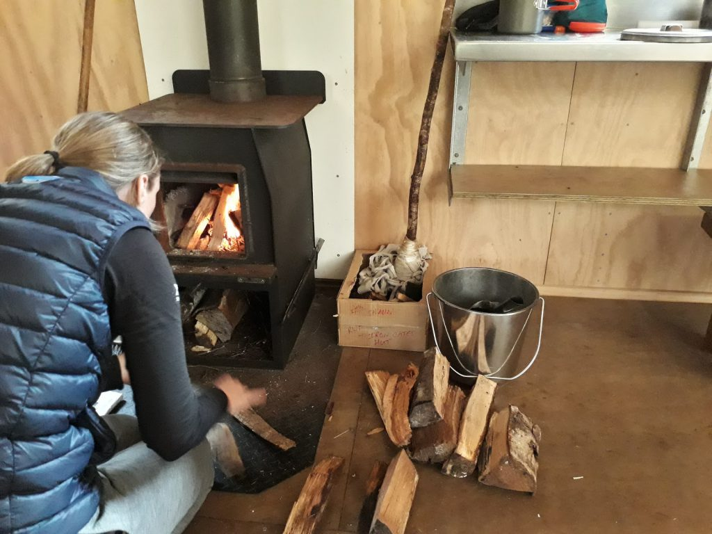Loretha turns on the Irongate Hut central heating