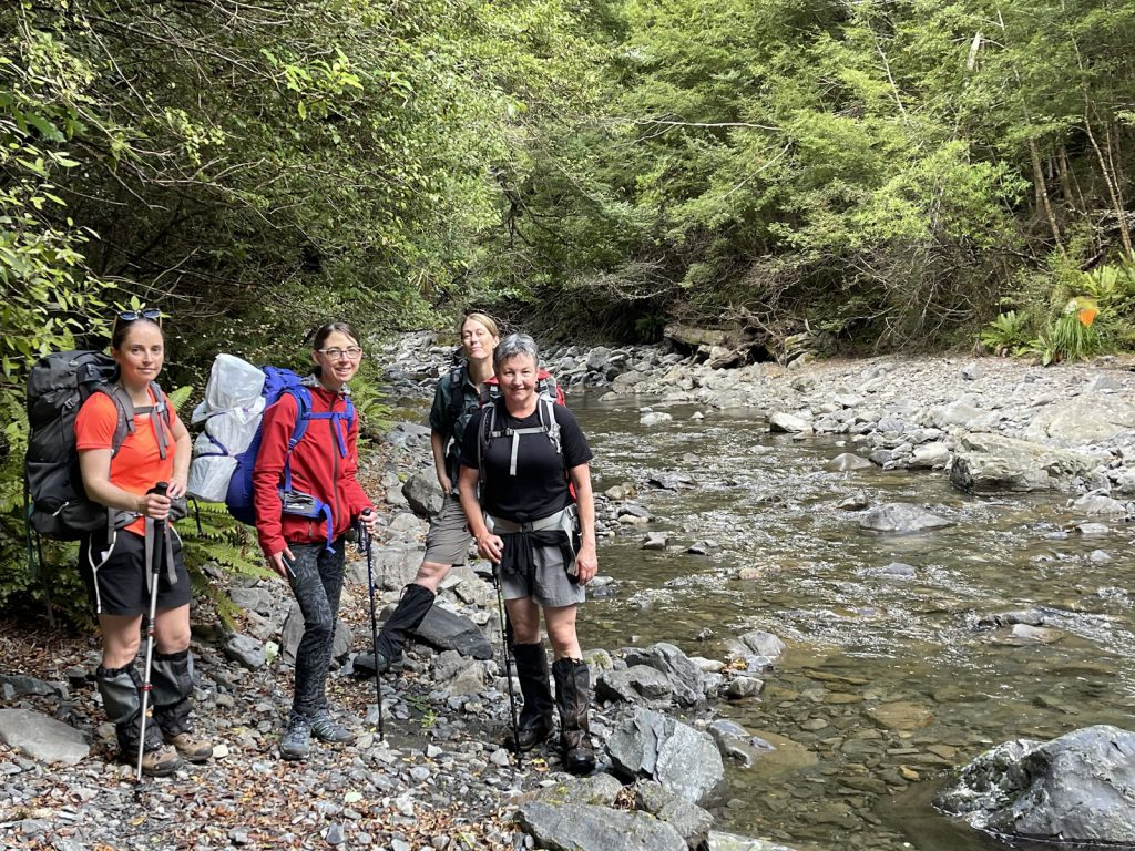 """Jamie, Anna, Loretha, and Jane ready to take on the first """"river"""" crossing"""