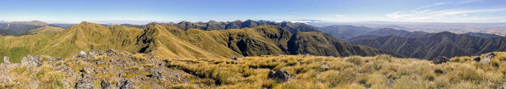 View from Mitre in the Tararua Rangewith no clouds