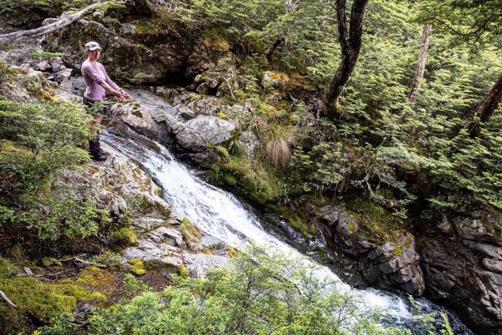Tramper next to ruching stream in bush
