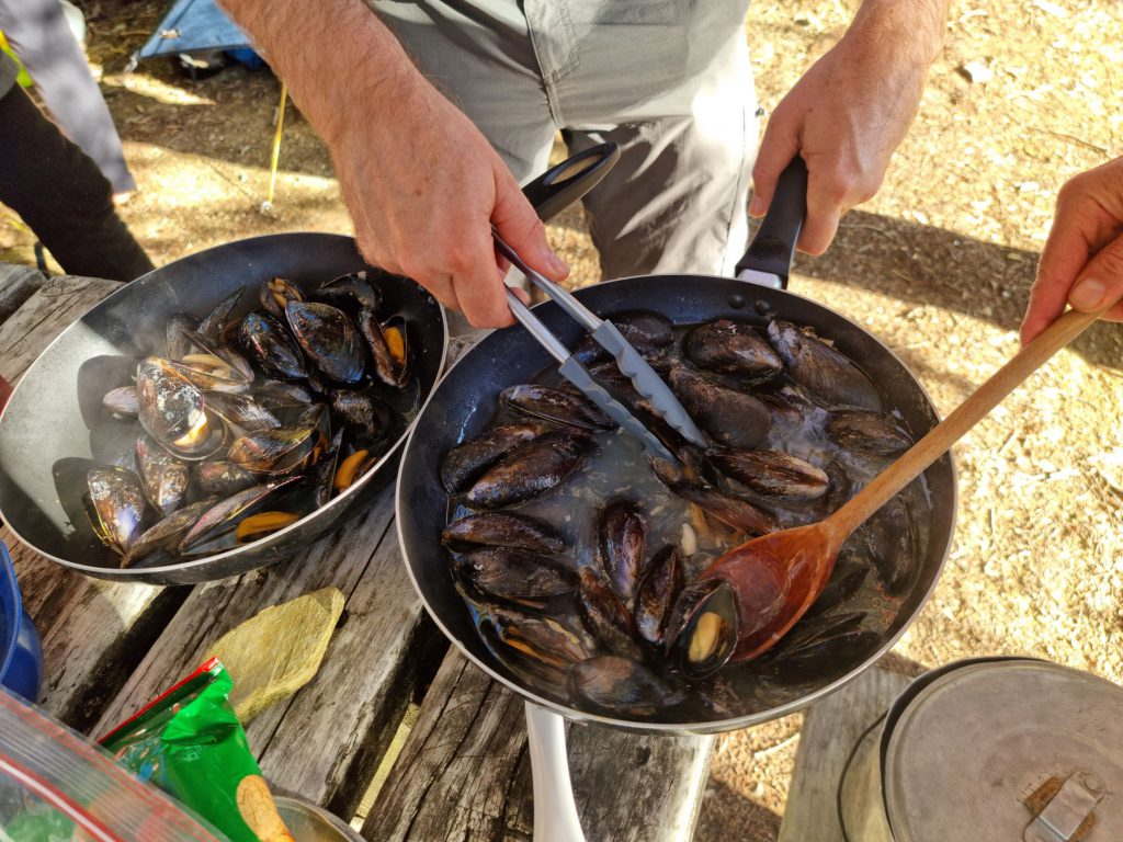 Two pans of mussels cooking