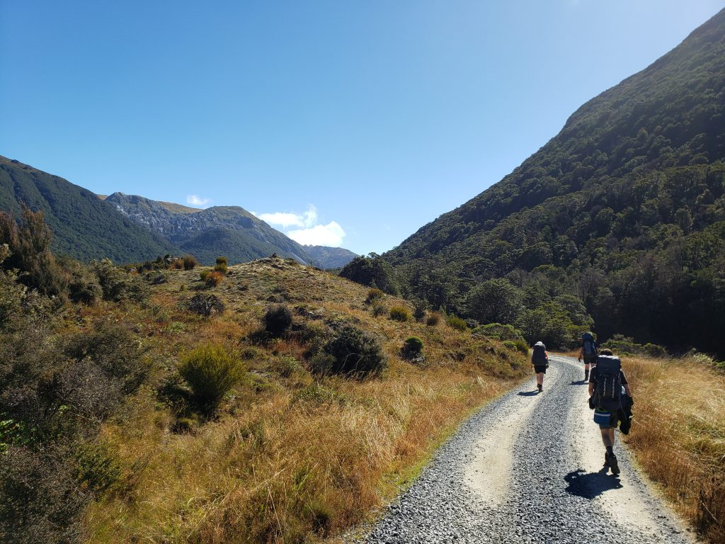 Walking on a gravel road in a valley