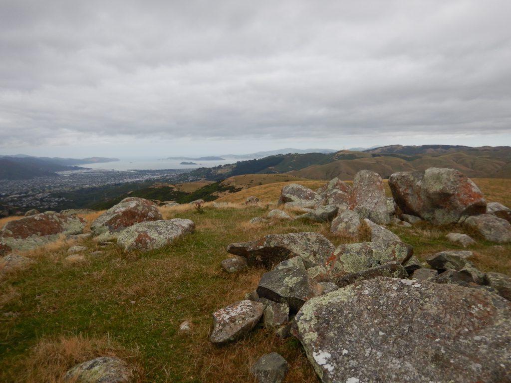 Looking across rocky hills to Wellington harbour