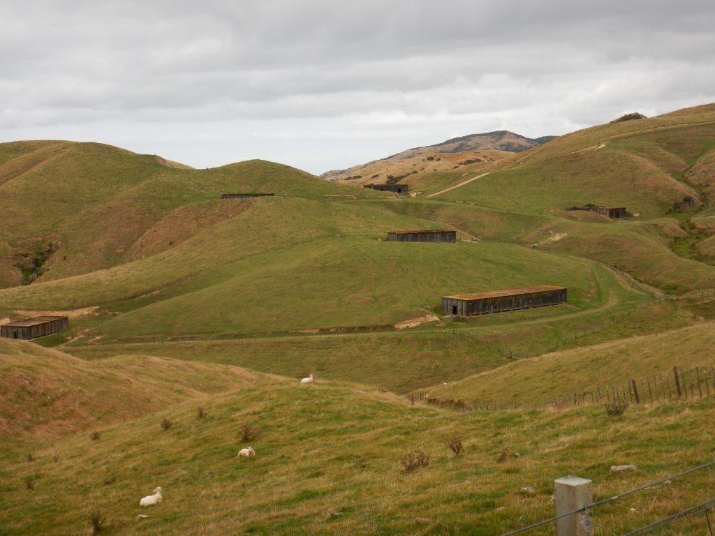 Concrete buildings in rolling fields