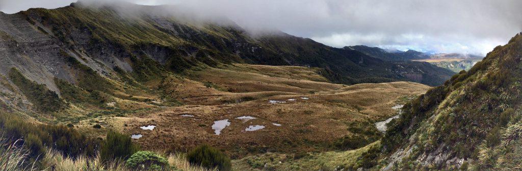 A vista across a mountain cwm with tarns