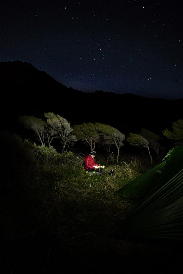 Campsite at night time