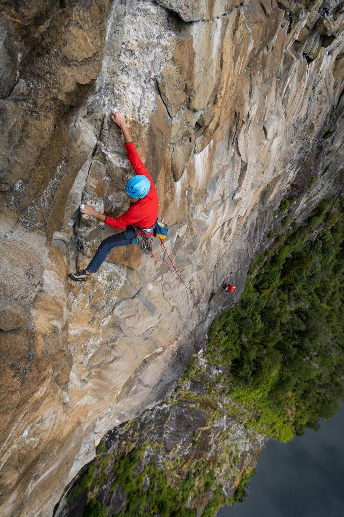 Rock climbing on a cliff
